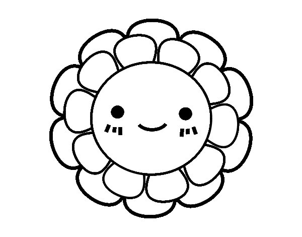 Childish Small Flower Coloring Page