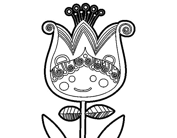 Childish tulip coloring page