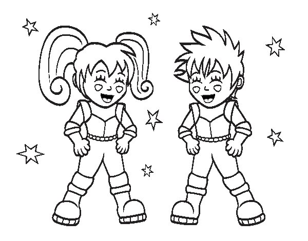 Children astronauts coloring page