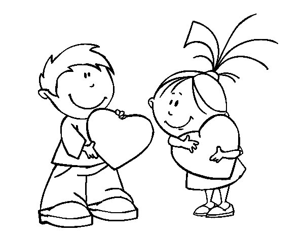Children in Valentines day coloring page