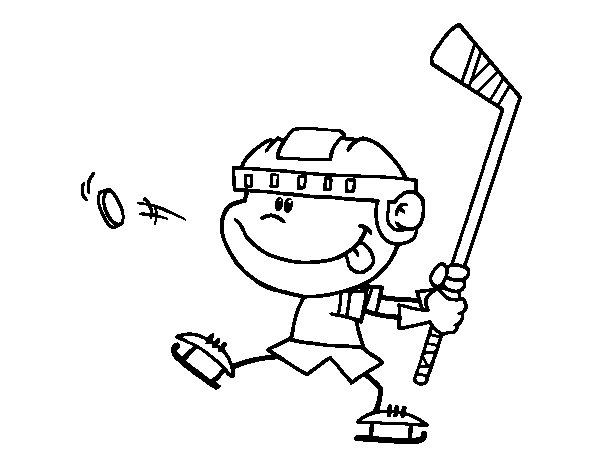 Children learn to play hockey coloring page