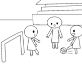 Children playing football coloring page