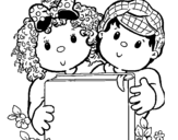 Children with a book coloring page
