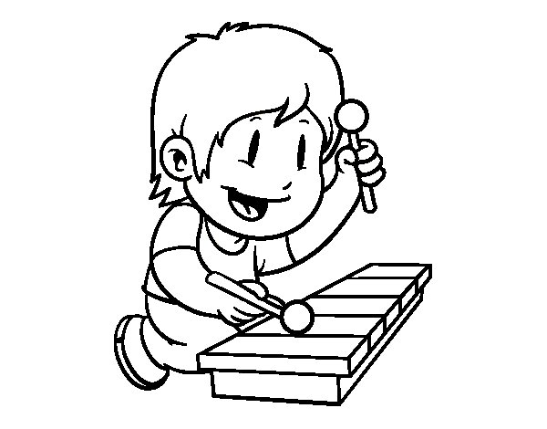 children with xylophone coloring page