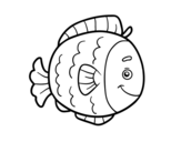 Childrish fish coloring page