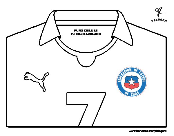 Chile World Cup 2014 t-shirt coloring page