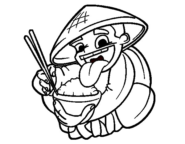 Chinese eating rice coloring page