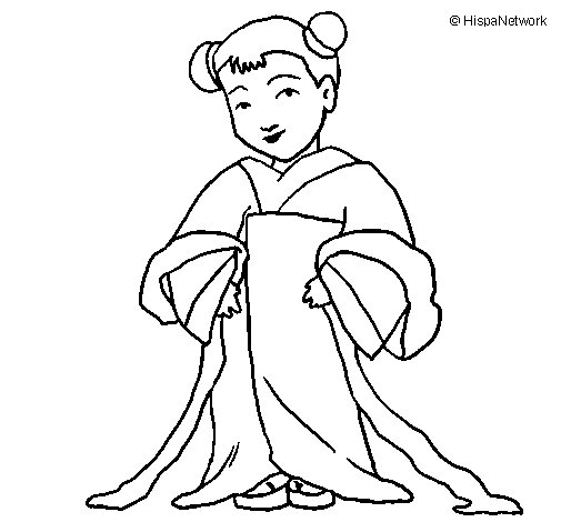 Chinese girl coloring page