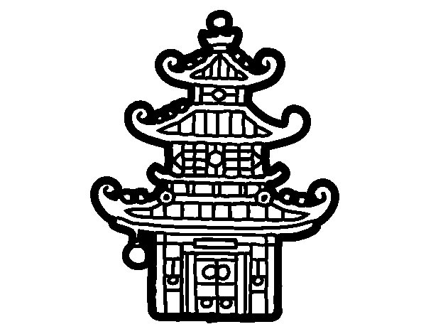 Chinese pagoda coloring page