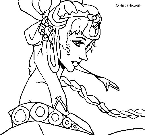 Chinese princess coloring page
