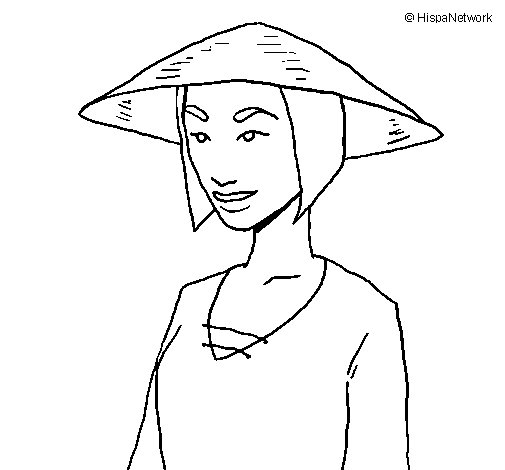 Chinese woman coloring page