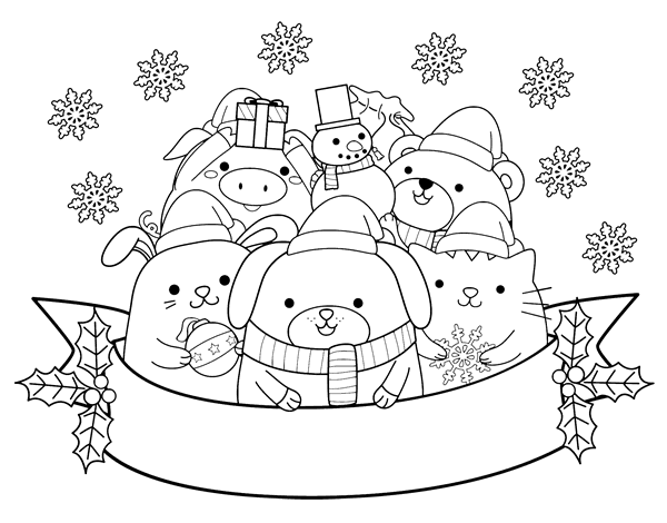 Christmas animals coloring page Coloringcrewcom