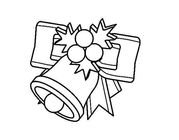 Christmas bell with balls coloring page
