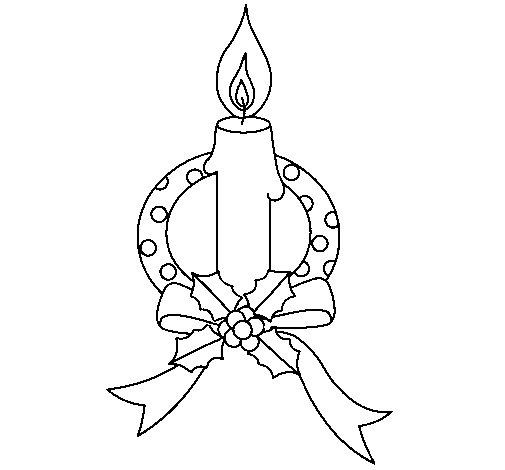 Christmas candle III coloring page