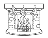 Christmas chimney coloring page