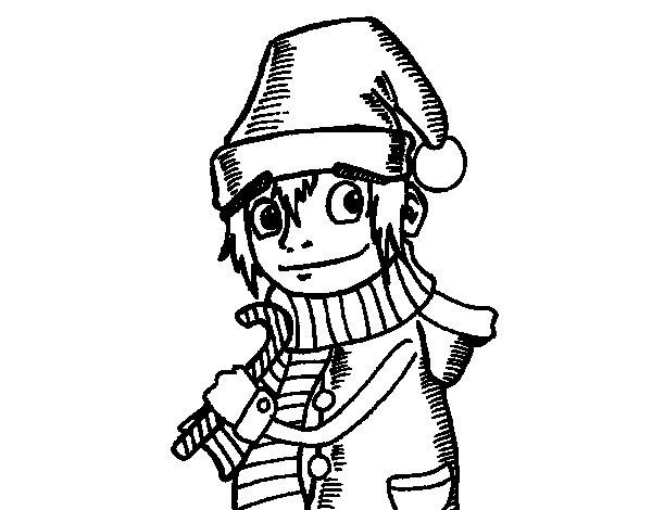 Christmas gnomo coloring page