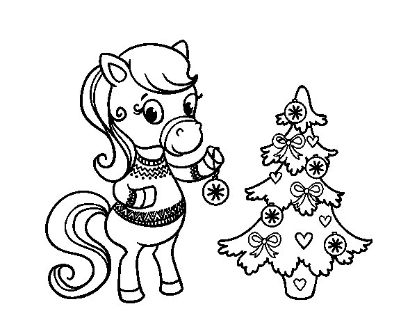 Christmas pony coloring page