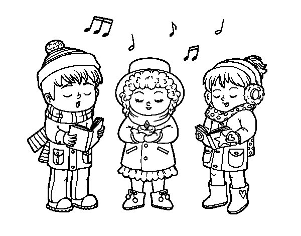 Christmas singers coloring page