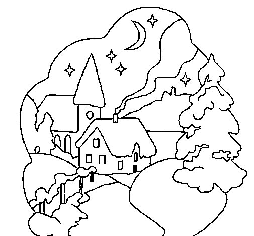 Christmas town coloring page - Coloringcrew.com