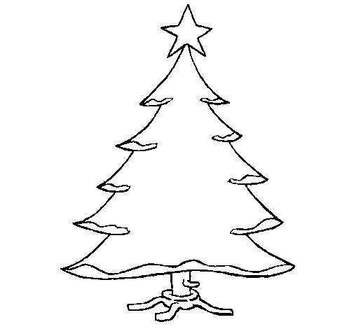 Christmas tree with star coloring page  Coloringcrewcom