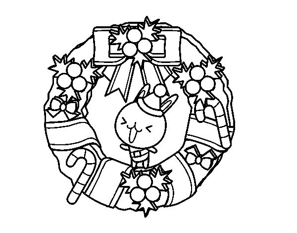 Christmas wreath and bunny coloring page