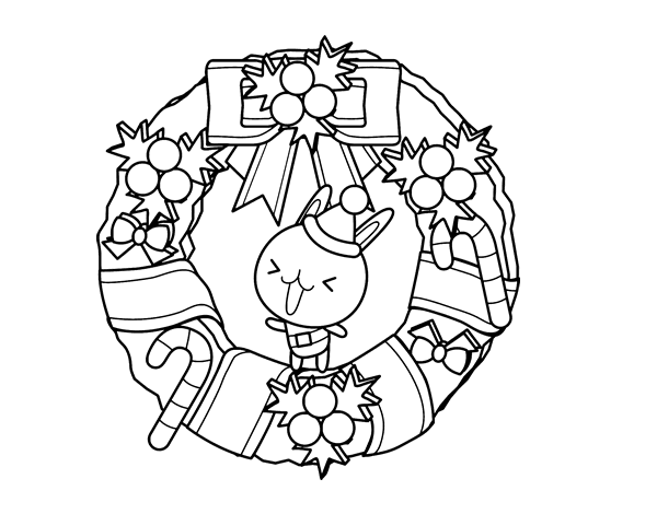 Christmas wreath and bunny coloring page - Coloringcrew.com
