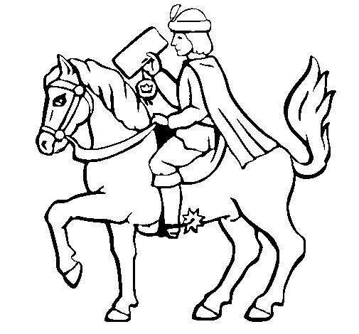 Christmassy postman on horseback coloring page