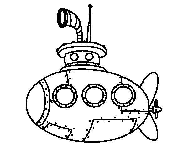 Classic submarine coloring page