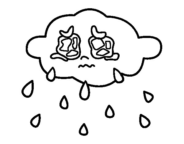 Cloud crying coloring page