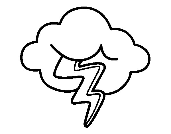 Cloud with ray coloring page
