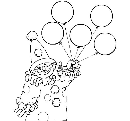 Clown with balloons coloring page - Coloringcrew.com