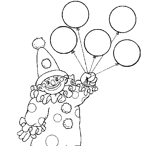 clown with balloons coloring page coloringcrewcom - Clown Balloons Coloring Page