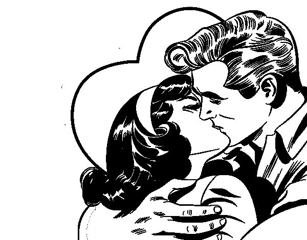 Couple kissing coloring page