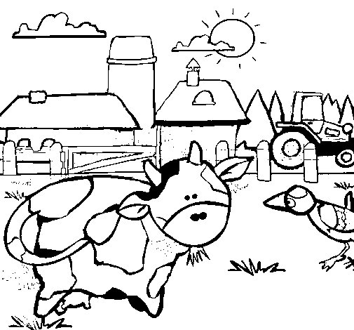 Cow on the farm coloring page