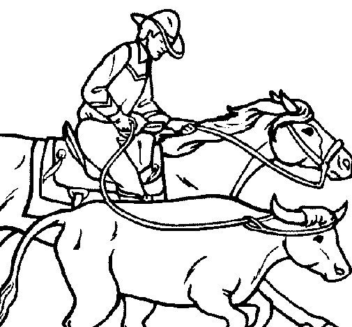 Cowboy and cow coloring page