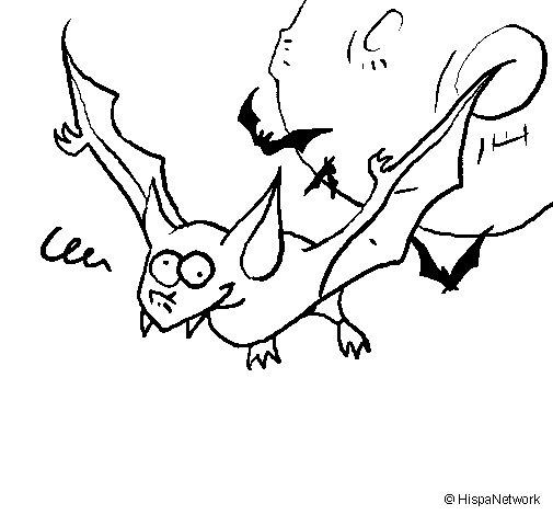 Crazy bat coloring page