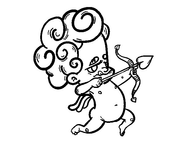 Cupid aiming coloring page