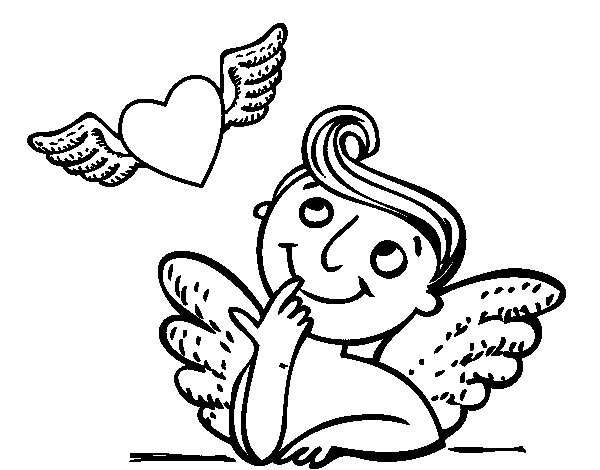 Cupid and winged heart coloring page