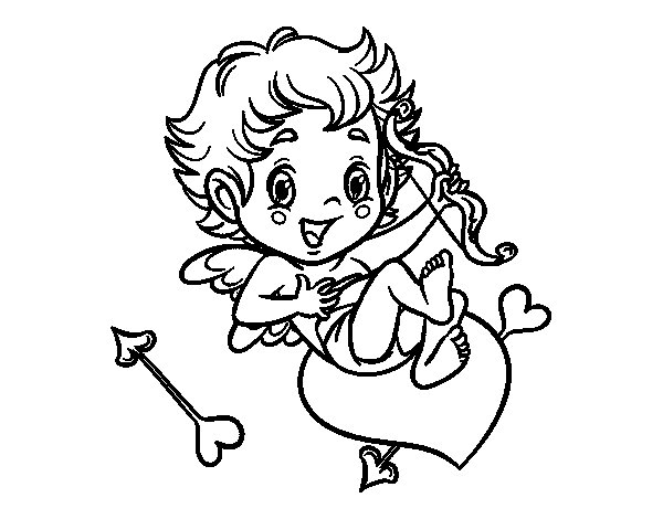 Cupid little boy coloring page