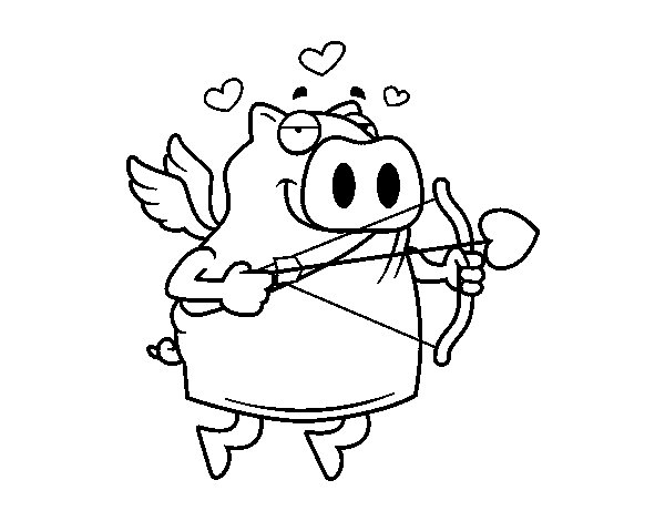 Cupid Piglet coloring page