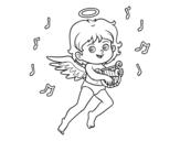 Dibujo de Cupid playing the harp