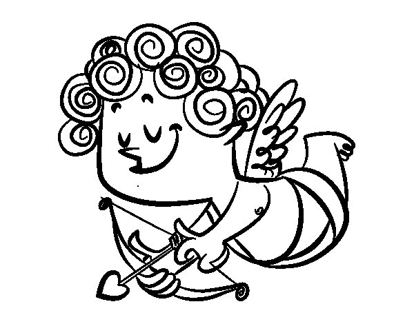 Cupid with curls coloring page