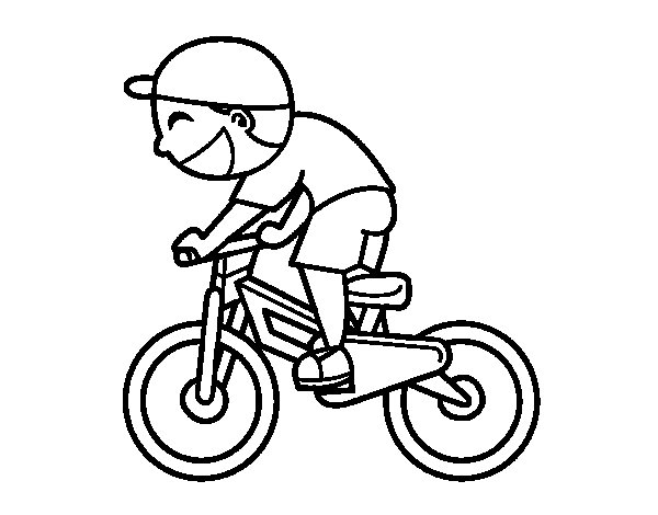 Cyclist child coloring page