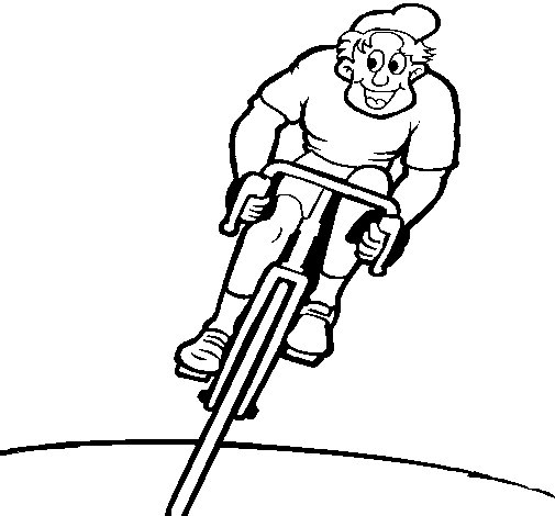Cyclist with cap coloring page