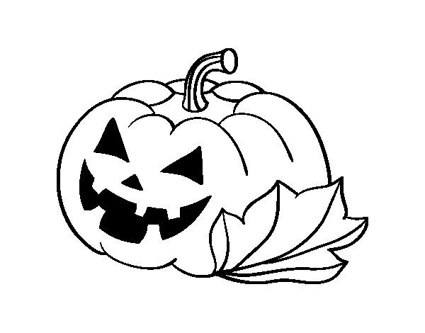 Decorated halloween pumpkin coloring page