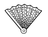 Decorated hand fan coloring page