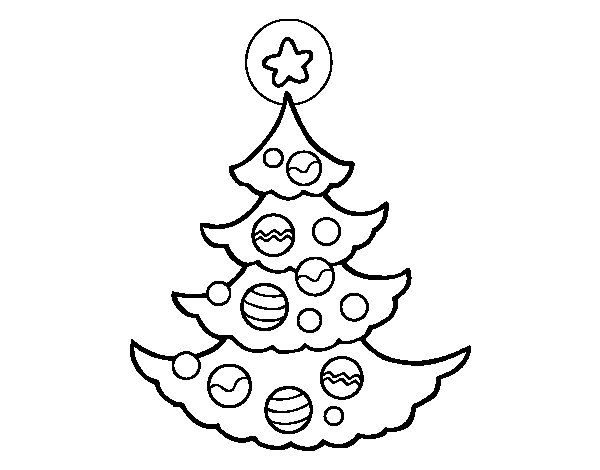 Decorated tree coloring page