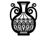 Decorated vase coloring page