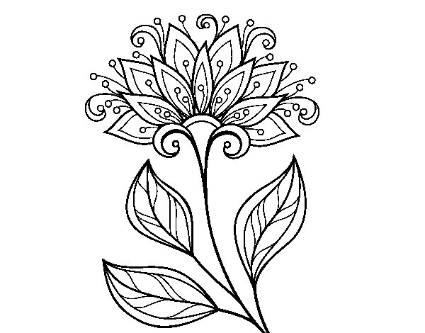 Decorative flower coloring page