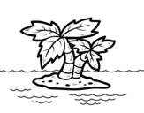 Desert island coloring page